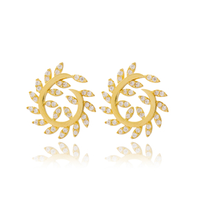 Hoop Dainty Design Round Stud Earrings Turkish Wholesale 925 Sterling Silver Jewelry