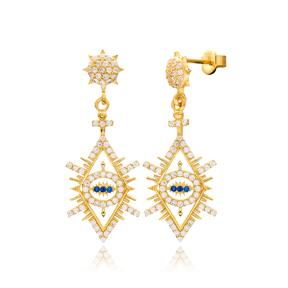 Fashionable Evil Eye Design Earrings Wholesale Turkish Sterling Silver Jewelry