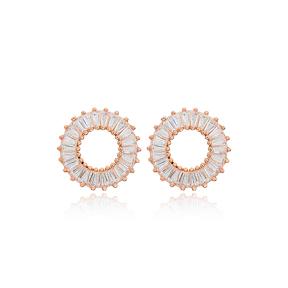 Baguette Stone Round Shape Stud Earrings Wholesale Turkish Sterling Silver Jewelry