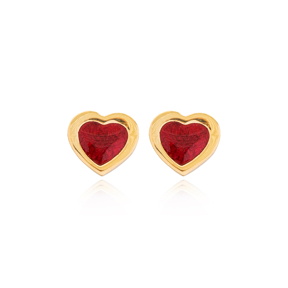 Claret Red Enamel Heart Design Stud Earrings Wholesale Turkish Sterling Silver Jewelry
