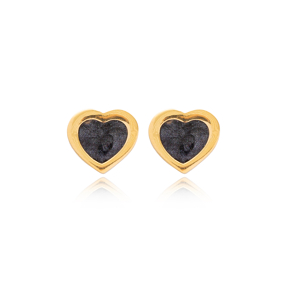 Black Enamel Heart Design Stud Earrings Wholesale Turkish Handmade 925 Sterling Silver Jewelry
