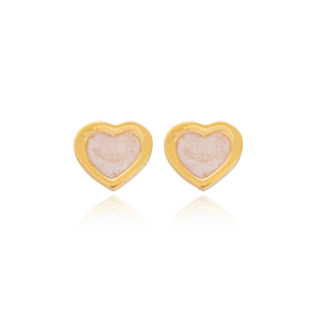 Powder Pink Enamel Heart Design Stud Earrings Wholesale Turkish Handmade 925 Sterling Silver Jewelry