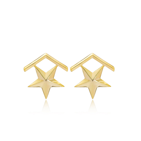Star Rank Design None Stone Stud Earrings Wholesale Turkish Handmade 925 Sterling Silver Jewelry