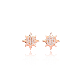 North Star Design Zircon Stone Stud Earrings Wholesale Turkish Handmade 925 Sterling Silver Jewelry