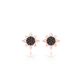 North Star Design Black Zircon Stone Stud Earrings Wholesale Turkish Handmade 925 Sterling Silver Jewelry
