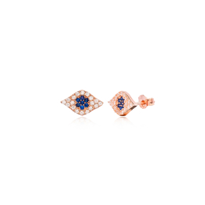 Evil Eye Design Sapphire Stone Stud Earrings Wholesale Turkish Handmade 925 Sterling Silver Jewelry