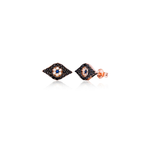Evil Eye Design Black Zircon Stone Stud Earrings Wholesale Turkish Handmade 925 Sterling Silver Jewelry