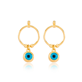 Ringed Evil Eye Design Stud Earrings Wholesale Turkish Handmade 925 Sterling Silver Jewelry