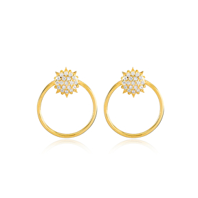 Sun and Round Hollow Design Stud Earrings Wholesale Turkish Handmade 925 Sterling Silver Jewelry