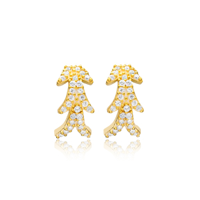 Zircon Minimalist Stud Earrings Wholesale Turkish Handmade 925 Sterling Silver Jewelry