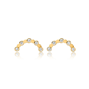 Minimalist Elegant Curve Shape Stud Earring Handmade Turkish Wholesale 925 Sterling Silver Jewelry