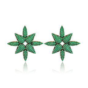 Emerald Stud Earring Turkish Wholesale Handmade 925 Sterling Silver Jewelry