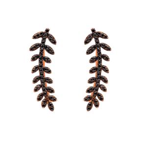 Light Black Zircon Fern Design Turkish Wholesale Handcrafted Silver Earring