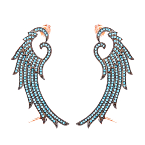 Micro Turquoise Ear Cuff Angel Wing Turkish Wholesale Handcrafted Silver Earring