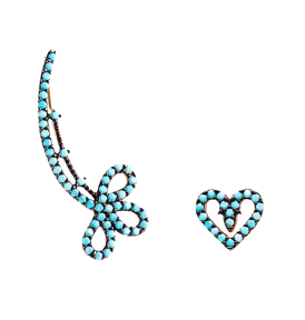 Heart Micro Turquoise Ear Cuff Turkish Wholesale Handcrafted Silver Earring