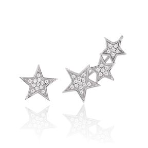 Star Design One Side Turkish Wholesale 925 Sterling Silver Jewelry Stud Earring