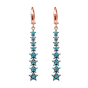 Nano Turquoise Ear Star Turkish Wholesale Handcrafted Silver Earring