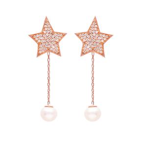Star Dangle Pearl Earrings Turkish Wholesale Sterling Silver Earring