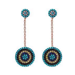 Dangle  Earrings Turkish Wholesale Evil Eye Design 925 Sterling Silver Earring