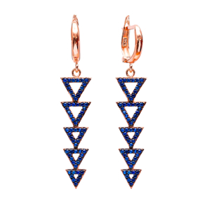 Dangle Clip On Hollow Triangle Earrings Turkish Wholesale Sterling Silver Earring