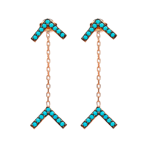 Nano Turquoise Arrow Earrings Wholesale Turkish Sterling Silver Earring