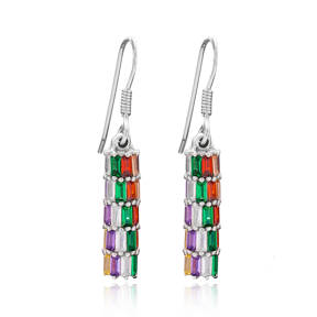 Baguette Shape Stone Silver Earring Wholesale 925 Sterling Silver Jewelry