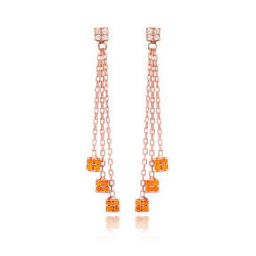 Square Charm Orange Quartz Stone Earring Wholesale Handmade 925 Silver Sterling Jewelry
