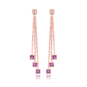 Amethyst Stone Square Charm Earring Wholesale Handmade 925 Silver Sterling Jewelry