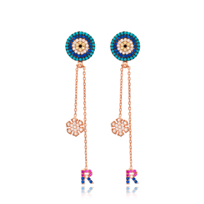 Evil Eye Shape Snowflake Design Long Earrings Wholesale Handmade 925 Silver Sterling Jewelry