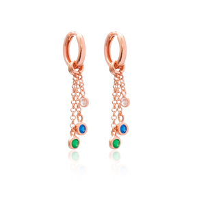 Colorful Stone Design Long Earrings Wholesale Handmade 925 Silver Sterling Jewelry
