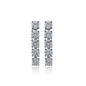 Ø4.5 mm Round Stone Dainty Design Tennis Earrings Wholesale Handmade 925 Silver Sterling Jewelry