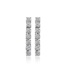Ø3.5 mm Round Stone Elegant Design Tennis Earrings Wholesale Handmade 925 Silver Sterling Jewelry