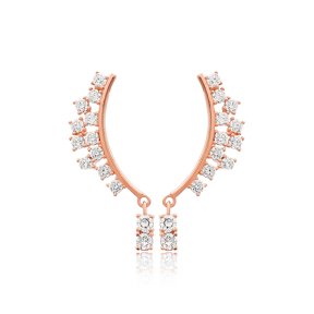 Dainty Design Zircon Stone Long Earrings Wholesale Handmade 925 Silver Sterling Jewelry