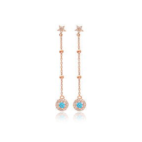 Aqua Marine Stone Star Design Long Dangle Earrings Wholesale Handmade 925 Silver Sterling Jewelry