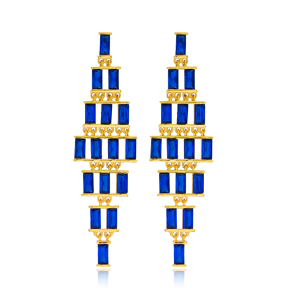 Wholesale Baguette Sapphire Stone Turkish Handmade 925 Sterling Silver Long Earrings