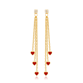 Red Enamel Minimal Heart Design Charm Long Earrings Wholesale Turkish Handmade 925 Silver Sterling Jewelry
