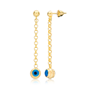 Ø3 mm Sized Chain Ø9 mm Sized Evil Eye Design Long Earrings Wholesale Turkish Handmade 925 Silver Sterling Jewelry