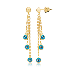 Turquoise Evil Eye Design Charms Long Earrings Wholesale Turkish Handmade 925 Silver Sterling Jewelry