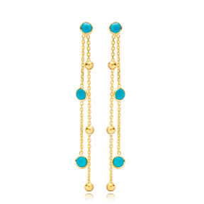 Unique Design Turquoise Stone Round Charms Long Earrings Wholesale Turkish Handmade 925 Silver Sterling Jewelry
