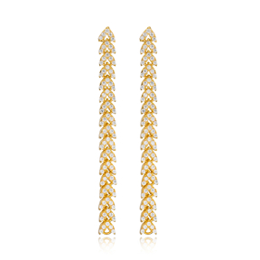 Elegant Popular Long Zircon Earrings Wholesale Turkish Handmade 925 Sterling Silver Jewelry