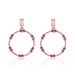 Rounded Amethyst Baguette Shape Silver Earring Wholesale 925 Sterling Silver Jewelry
