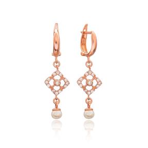 Delicate Pearl Dangle Earring Wholesale 925 Silver Sterling Jewelry
