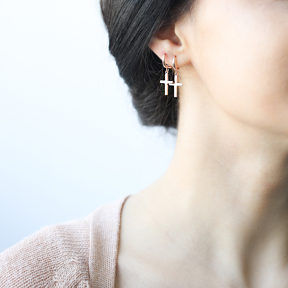 Confessions Cross Dangle Earrings Turkish Wholesale Sterling Silver Earring