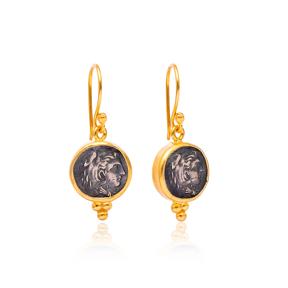 Medallion Dangle Earrings Turkish Wholesale Sterling Silver Earring