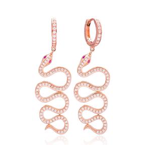 Reptile Snake Dangle Earrings Wholesale 925 Sterling Silver Jewelry