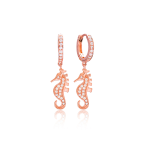 Seahorse Dangle Earrings Wholesale 925 Sterling Silver Jewelry