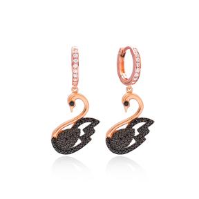 Swan Dangle Earrings Wholesale 925 Sterling Silver Jewelry