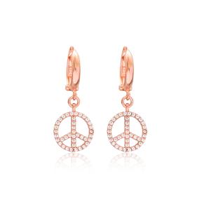 Peace Design Dangle Earrings Turkish Wholesale Handmade 925 Sterling Silver Jewelry