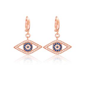 Evil Eye Design Dangle Earrings Turkish Wholesale Handmade 925 Sterling Silver Jewelry