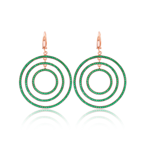Turkish Wholesale Handcrafted Silver Emerald Round Dangle Earring